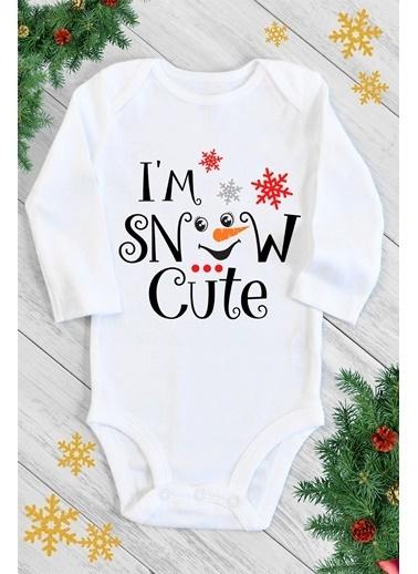 Happy Onesie Co Snow Cute Uzun Kol Çıtçıtlı Bebek Body Beyaz